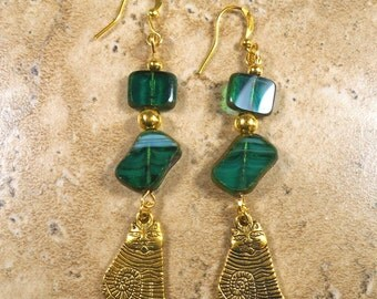 Cat earrings with gold tone cat charms and Czech green glass - ME140