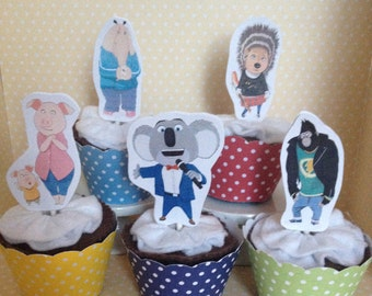 Sing Movie Party Cupcake Topper Decorations - Set of 10