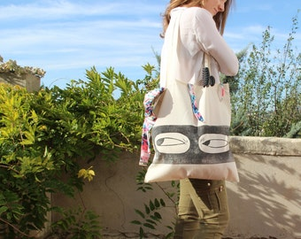 "Illustrated canvas bag, ""masked"" tote bag, superhero of zero waste, handprinted by linocut."