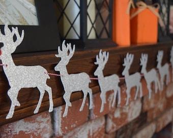 Reindeer Garland, Christmas Garland, Reindeer Banner, Christmas Banner, Christmas Decor, Rudolph Banner