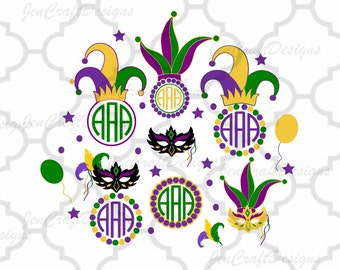 Mardi Gras Masquerade Mask Monogram Frame Set Jester Crown New Orleans Svg Cuttable Design Frame Monogram SVG EPS Png DXF, Cricut Silhouette