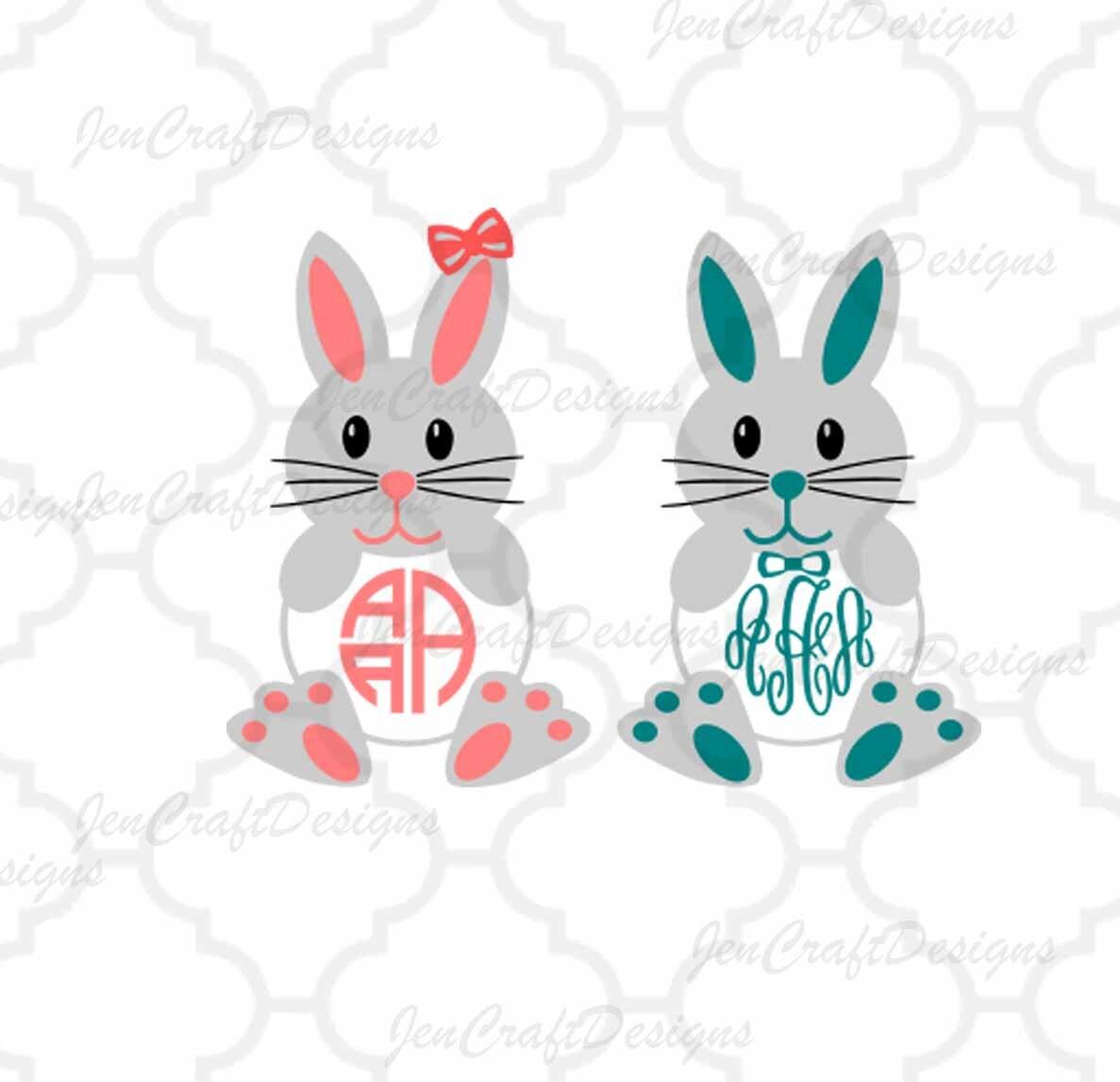 easter bunny monogram frames svg easter monogram frames easter circle monogram easter svg dxf eps digital download silhouette cricut - Easter Picture Frames
