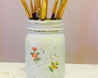 Cottage shabby chic mason jar pencil holder/dorm decor/brush holder/desk accessories/office organization/classroom decor/centerpiece