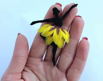 Little Ballerina brooch, Valentine's Day Gift for her, Sunflower brooch, polymer clay jewelry