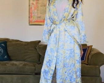 vintage silk floral robe