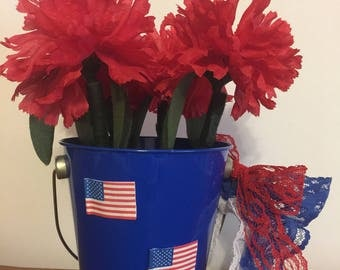 American Spirit Daisy Flower Pen Pot / 4th Of July, Home Decor, Office Gift