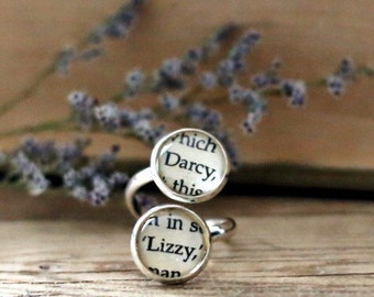 Pride and Prejudice double book page ring. Darcy and Lizzy. Jane Austen Book Page Jewelry. Statement ring