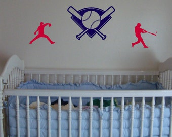 Baseball Wall Decal Set Of 3 Boys Room Decor Sports Removable