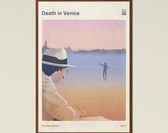Death in Venice, Thomas Mann - Book Cover Poster Large, Literary Gift, Literature Art Print, Bookworm, Bibliophile, Instant Download