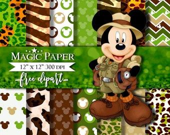 50% OFF SALE Safari Mickey Mouse Digital Paper Clipart Clip Art, animal print