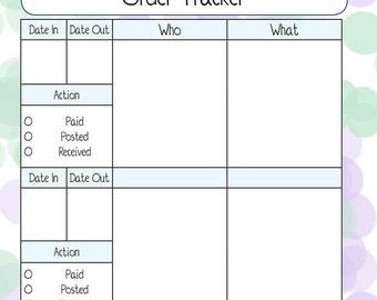 Pretty Green & Purple Business Order Tracking PDF Printable