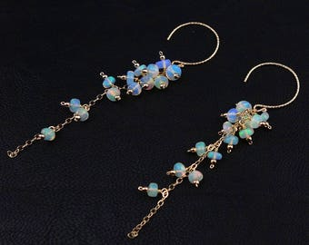 Opal Earrings - Natural Opal Earrings, Fire Opal Earrings, Cluster Earrings, Ethiopian Opal Earrings, Genuine Opal Earrings