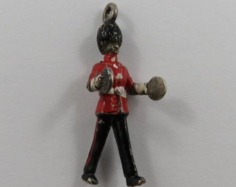 Marching Band Cymbal Member With Red and Black Enamel Sterling Silver Vintage Charm For Bracelet