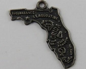Map of Florida State Sterling Silver Vintage Charm For Bracelet
