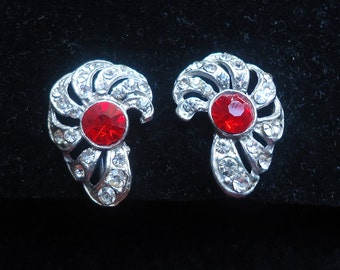 """Art Deco Red Rhinestone, Clear Rhinestone and Silver Open Metal Work """"Candy Cane"""" Vintage Screw Back Earrings - Estate Jewelry"""