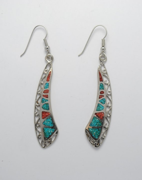 Boucles d'oreille turquoise en métal
