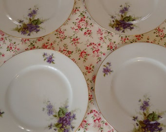 4 dishes dessert  Italian porcelain gold violas 1930