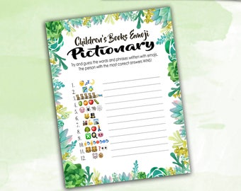 Baby Shower Game Pictionary - EMOJI Pictionary - Children's Books - Succulents / Cactus Instant Printable Digital Download - diy Printables