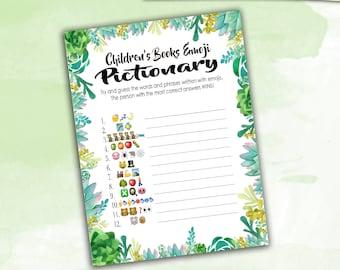 Baby Shower Game Pictionary - EMOJI Pictionary - Children's Books - Succulents / Cactus Instant Printable Digital Download - diy Printables