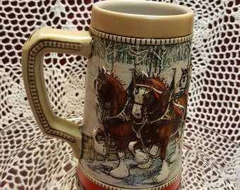 1988 Anheuser-Busch Limited Edition Series Holiday Beer Stein, 3 Dimensional, BUDWEISER, Clydesdale, Home Bar Barware Decor, TV Movie Prop