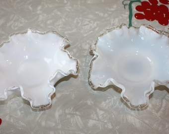 Vintage Silver Crest Small Candy / Bonbon Dishes with Ruffled Edges, 2-Piece Set