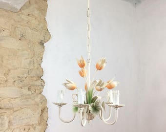 French Toleware Tulip Chandelier. Vintage French Five Stem Tole Ware Pendant Light With Tulips