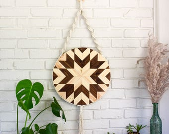 Round Wood Wall Art wood wall art macrame wall hanging boho wood art round