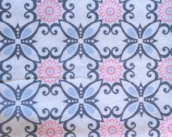 Pink and Grey Abstract Floral Print Flannel Baby Blanket