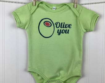 Olive You, Baby Bodysuit, Green, Short Sleeve, Baby One Piece, Olive Juice, Newborn - 18 Months, Fun Baby Clothes, Baby Boy, Baby Girl