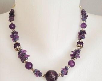 Amethyst necklace   Gemstone necklace  Purple necklace
