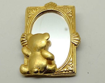 Vintage Teddy Bear with Mirror-signed JJ