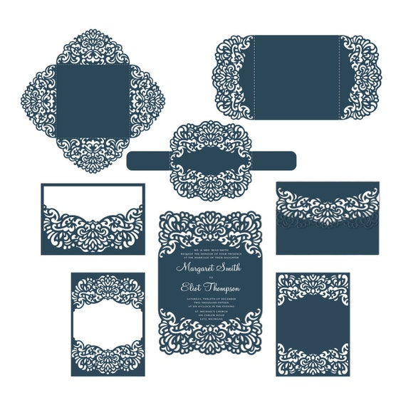 set laser cut wedding invitation templates card envelope. Black Bedroom Furniture Sets. Home Design Ideas
