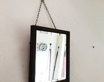 Small Vintage Woodframed Mirror/long-chained little Mirror/Antique Wall Mantlepiece mirror/Wooden framed mirror/Bathroom mirror