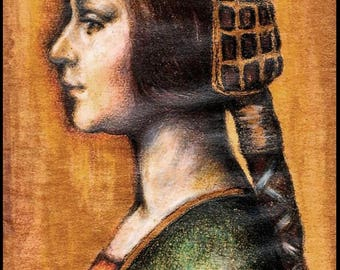 Print Aceo limited edition - Angela Borgia Portrait - Tribute to Leonardo