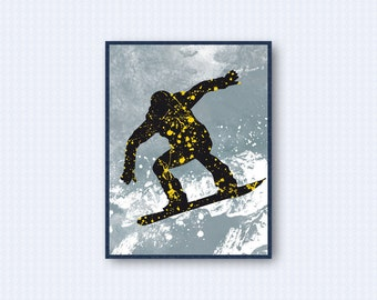 Snowboard Watercolor Poster