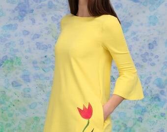 Yellow Dress, Tulip Dress, Simple Dress, Plus Size Clothing, Shift Dress, Rose Dress, Flower Dress, Romantic Dress, Office Dress