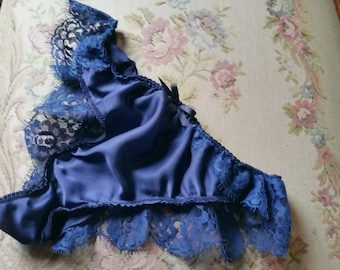 Blue Silk Satin French lace panties