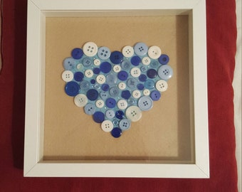 Hand made blue button picture
