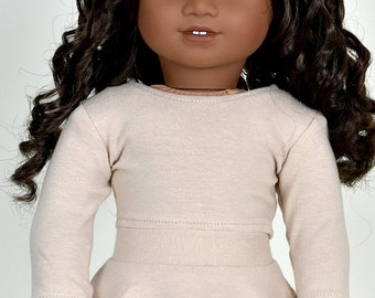 Long sleeve cropped top for 18 inch dolls Color Tan