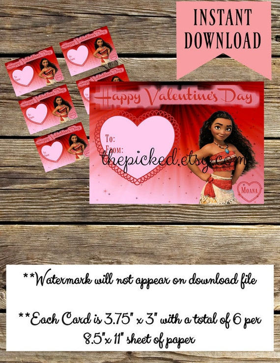 Disney Moana Printable Valentines for Kids
