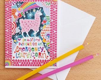 Emergency Llamacorn Papercut Card - A6