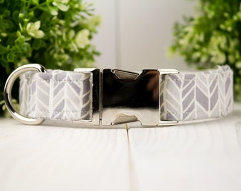 Grey Herringbone//adjustable Dog Collar w/ Metal Buckle