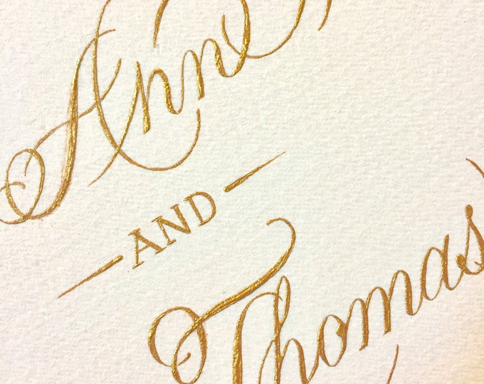 Featured listing image: Hand-painted Marriage Certificate with Gold Calligraphy