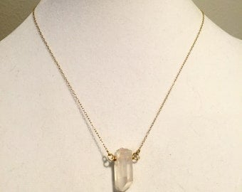 Clear quartz stone necklace on 14k gold filled chain