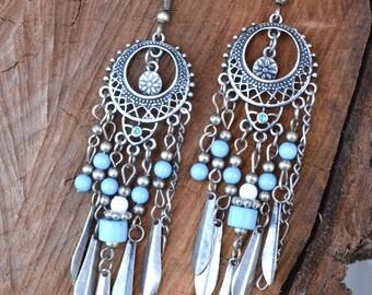 Long Boho Earrings, Long Tribal Earrings, Long Earrings, Tribal Earrings, Blue Earrings, Turquoise Earrings (E323)