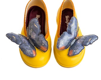 Wearable Art Shoes, Christmas Shoes, Yellow Butterfly Shoes, Christmas Gift For Wife, Womens Flat Shoes, Comfortable Shoes, Disco Shoes