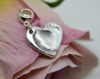 Fingerprint Charm With Bead Clasp - Keepsake Jewellery - Print Keepsake - Personalised Charm - Birthstone Charm