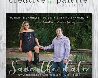 Simple and Elegant Save the Date Magnet and Envelopes