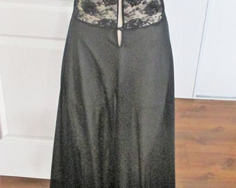 Vintage Kayser Black Long Nightgown Nylon Lace Spaghetti Straps Size Small