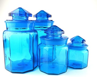 Blue Glass Canisters Set Of 4 Le Smith Glass Canisters Colonial Blue Glass